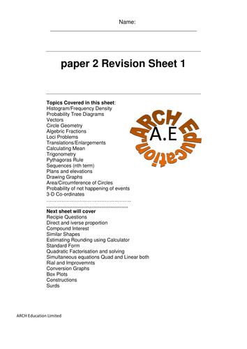 Revision Edexcel GCSE Maths Paper 2