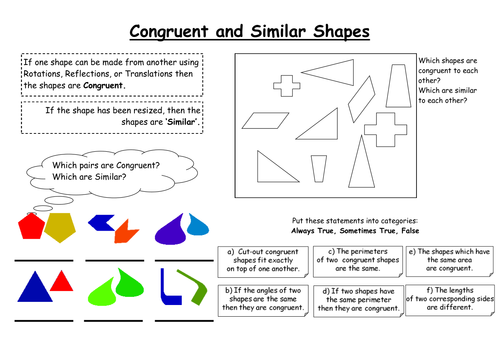 Congruent and Similar Shapes by ygbjammy Teaching Resources Tes – Similar and Congruent Figures Worksheet