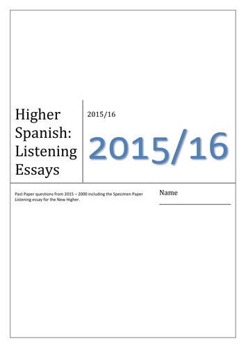higher spanish listening essays by missmittens teaching  higher spanish listening essays by missmittens teaching resources tes