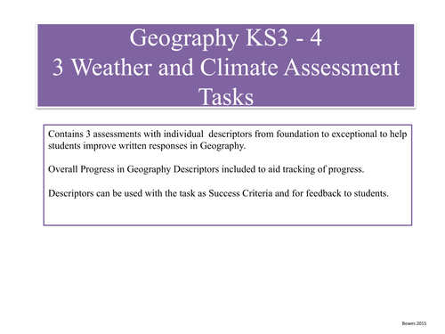 Geography Assessment, Weather and Climate Progress Planning, ' No Levels'