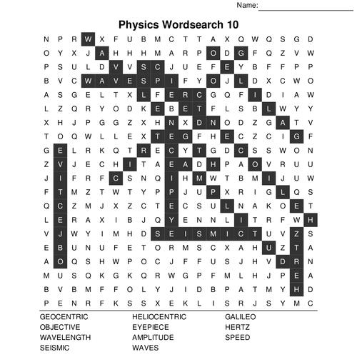 GCSE Physics Bumper Wordsearch Pack. 10 Crossword sets