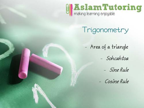 GCSE Maths (9-1) Trigonometry (SOHCAHTOA, Sine Rule, Cosine Rule, Area of Triangles)