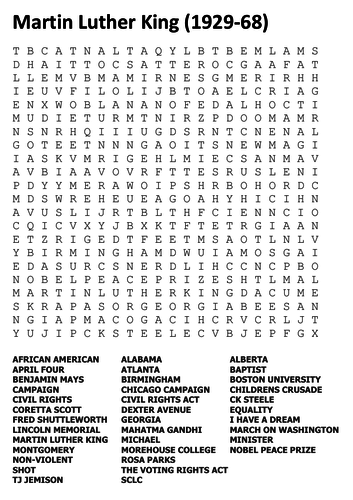 Martin Luther King Jnr Word Search By Sfy773 Teaching