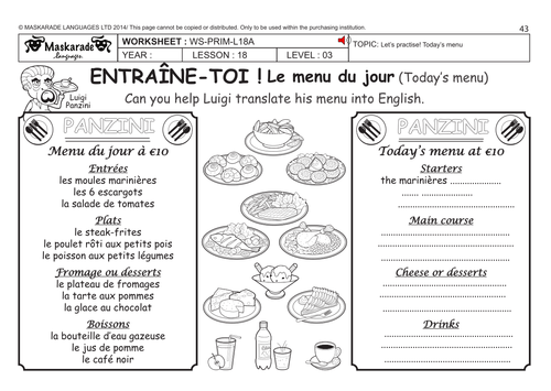 french ks2 level 3 ks3 year 7 today 39 s menu by maskaradelanguages teaching resources. Black Bedroom Furniture Sets. Home Design Ideas