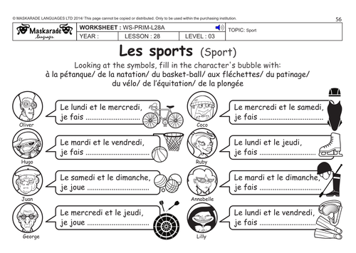 french ks2 level 3 ks3 year 7 free time sports by maskaradelanguages teaching. Black Bedroom Furniture Sets. Home Design Ideas