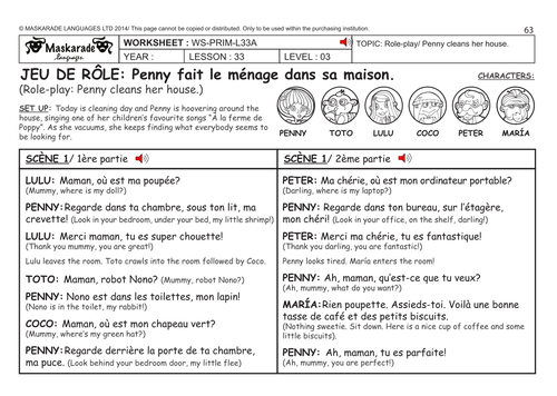 FRENCH KS2 Level 3 - KS3 (Year 7): Role-play: Penny cleans her house/ Oliver's bedroom