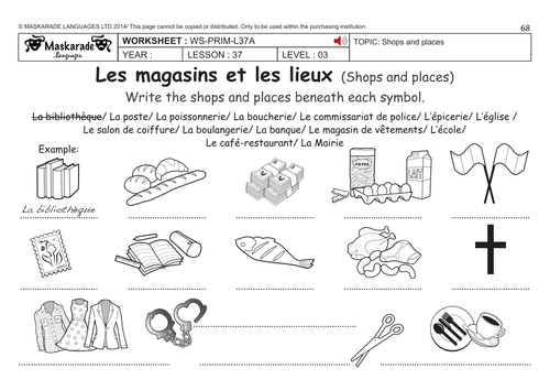 french ks2 level 3 ks3 year 7 shops and places by maskaradelanguages teaching resources. Black Bedroom Furniture Sets. Home Design Ideas