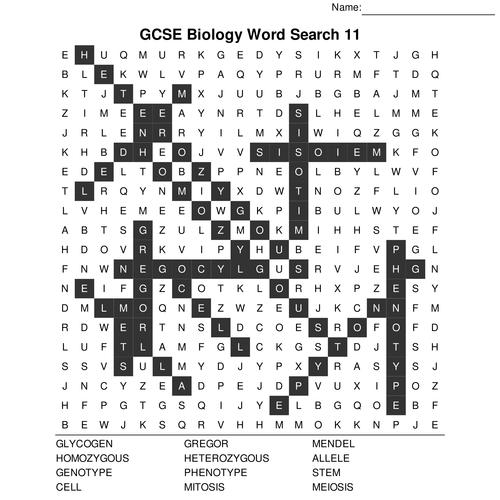 GCSE Biology Bumper Fun Wordsearch Pack. 10 Wordsearch Set