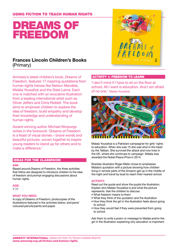 Activity Pack: Dreams of Freedom Teachers' Notes