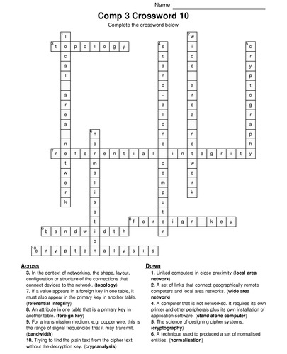 A Level Computing Bumper Fun Crossword Megapack. 10 Sets of 10 Includes (with answers)