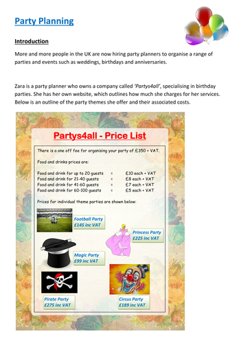Functional Maths Activity - Party Planning (E3 - L1)