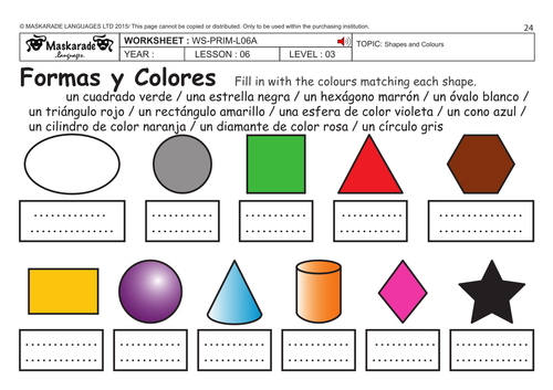 spanish ks2 level 3 ks3 year 7 shapes and colours by maskaradelanguages teaching resources. Black Bedroom Furniture Sets. Home Design Ideas