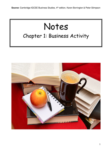 The Purpose of Business Activity Revision Notes