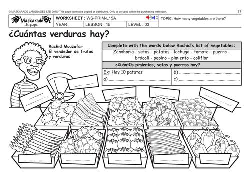 spanish ks2 level 3 ks3 year 7 at the fruit and vegetables market by maskaradelanguages. Black Bedroom Furniture Sets. Home Design Ideas