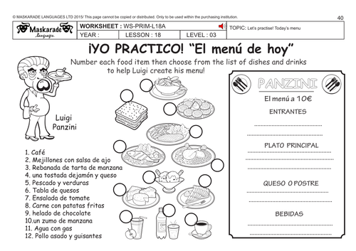 spanish ks2 level 3 ks3 year 7 today 39 s menu by maskaradelanguages teaching resources tes. Black Bedroom Furniture Sets. Home Design Ideas