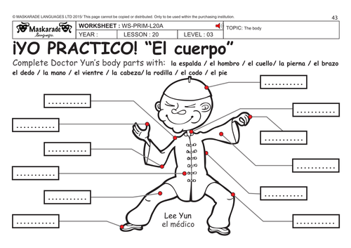Worksheets Body Parts In Spanish Worksheet parts of the body in spanish worksheet delibertad ks2 level 3 ks3 year 7 describing role play to teach parts