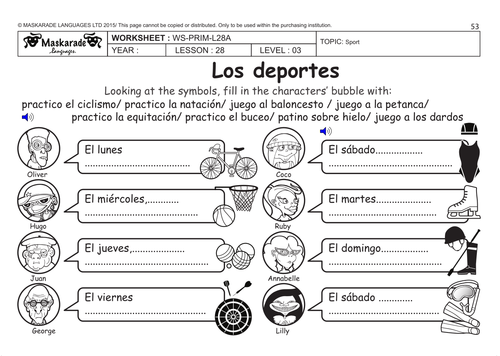 SPANISH KS2 Level 3 - KS3 (Year 7): Free time, sport activities by ...