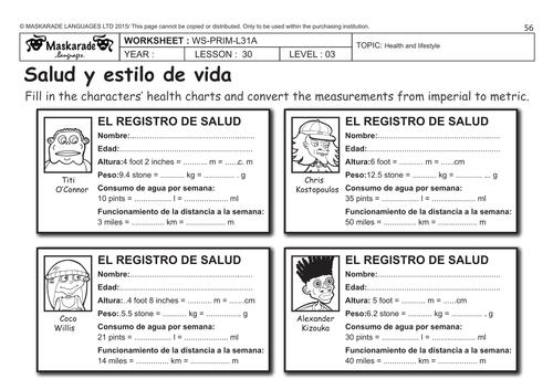 spanish ks2 level 3 ks3 year 7 health charts personal information by maskaradelanguages. Black Bedroom Furniture Sets. Home Design Ideas