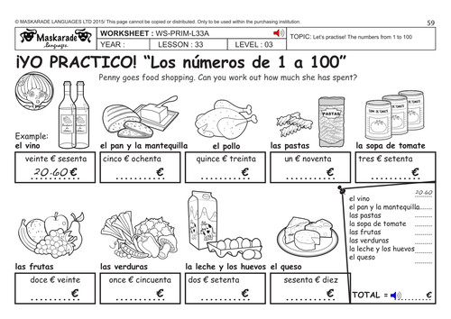 spanish ks2 level 3 ks3 year 7 practising numbers from 1 to 100 food shopping by. Black Bedroom Furniture Sets. Home Design Ideas