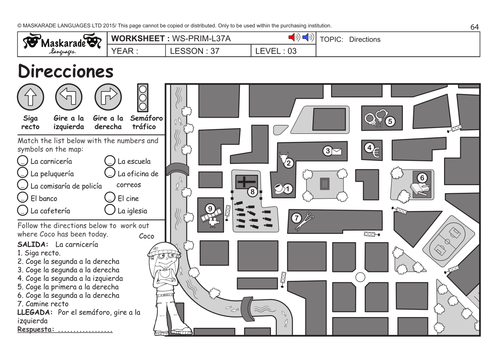 SPANISH KS2 Level 3 KS3 Year 7 Where are you going – Map Directions Worksheet