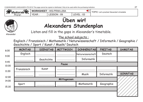 GERMAN KS2 Level 3- KS3 (Year 7): Timetable/ Weather forecast for the week