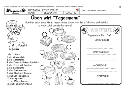 GERMAN KS2 Level 3 - KS3 (Year 7): Eating out/ At the restaurant