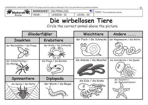 GERMAN KS2 Level 3 KS3 Year 7 Vertebrate and invertebrate – Vertebrates and Invertebrates Worksheets
