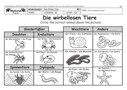 german ks2 level 3 ks3 year 7 vertebrate and invertebrate animals by maskaradelanguages. Black Bedroom Furniture Sets. Home Design Ideas