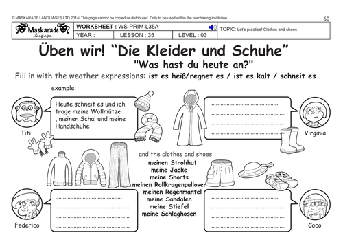 GERMAN KS2 Level 3 - KS3 (Year 7): What are you wearing today?