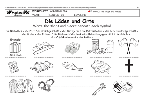 GERMAN KS2 Level 3 - KS3 (Year 7): Shops and places