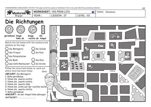 GERMAN KS2 Level 3 - KS3 (Year 7): Where are you going? / Directions