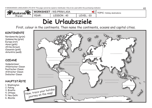 GERMAN KS2 Level 3 - KS3 (Year 7): Holiday destinations/ What's in your suitcase?