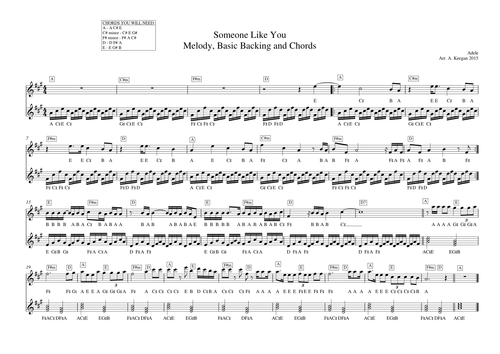 Someone Like You Melodic Lead Sheet Teaching Resources