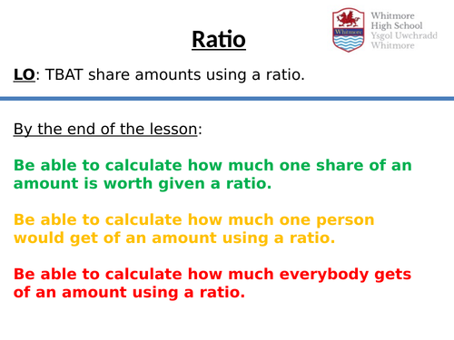 Complete Ratio lessons - Sharing amounts - Bar Modelling method