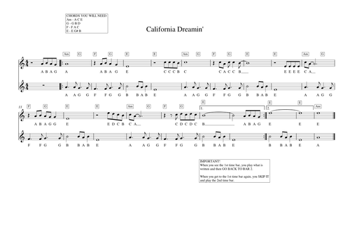 California Dreamin\' Simple Melodic Lead Sheet by trump3tandy ...