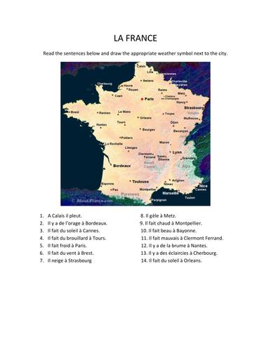 Carte France la météo / Map France weather