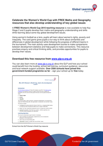 FREE Women's World Cup Maths & Geography teaching resource