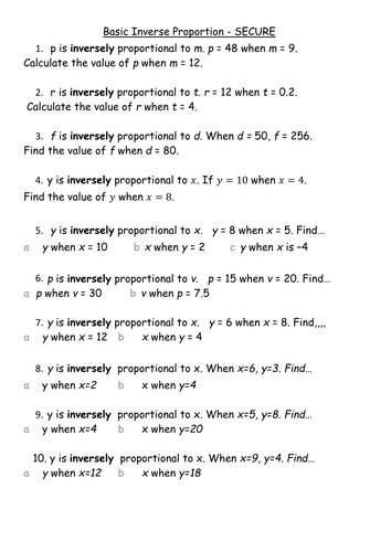 Inverse Proportion - y=k/x only by lj9g08 - Teaching Resources - Tes