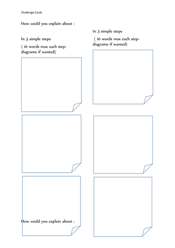 Challenge and Plenary cards
