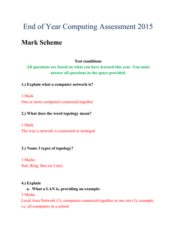Year 7 End of Year Computing Exam Answers