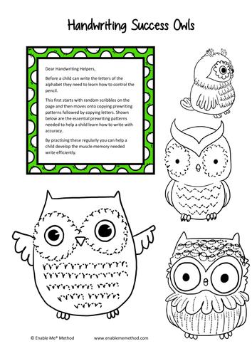 Cursive Handwriting Success Owls