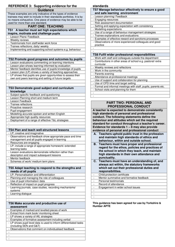 Teaching Standards File - Reflection Templates