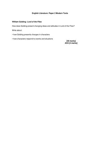 AQA 2015 English Literature Practice Exam Questions for Paper 2: Modern Texts (Lord of the Flies)