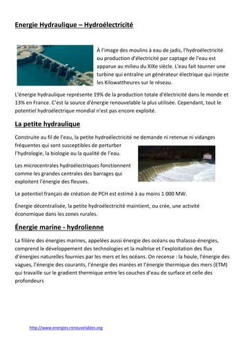 Energie Hydraulique – Hydroélectricité