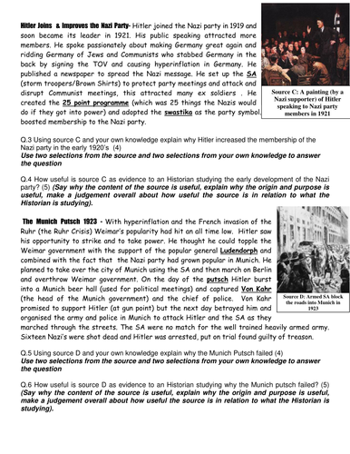 Hitler's rise to power revision booklet
