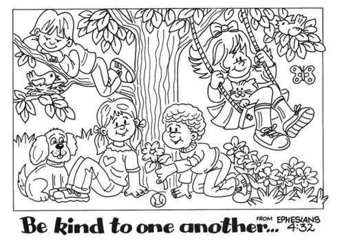 Be kind to one another colouring