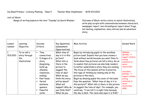 Literacy KS2 unit of work around the text 'Tuesday' by David Wiesner