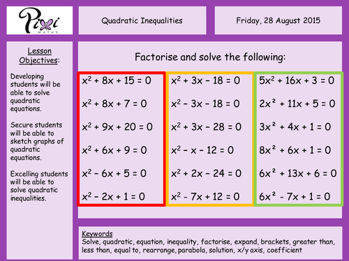 GCSE Maths Worksheet on Quadratic Inequalities by phildb – Inequalities Maths Worksheet