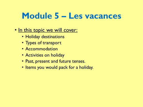 Year 8 - Les vacances (Expo 2, Module 5) - UPDATED
