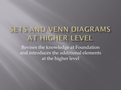 Sets And Venn Diagrams Higher Level By Simes28 Teaching Resources